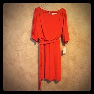 Jessica Simpson Open-Shoulder Orange Dress